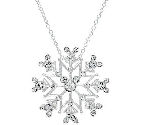 Disney Crystal Hidden Mickey Snowflake Pendant with 18 Chain