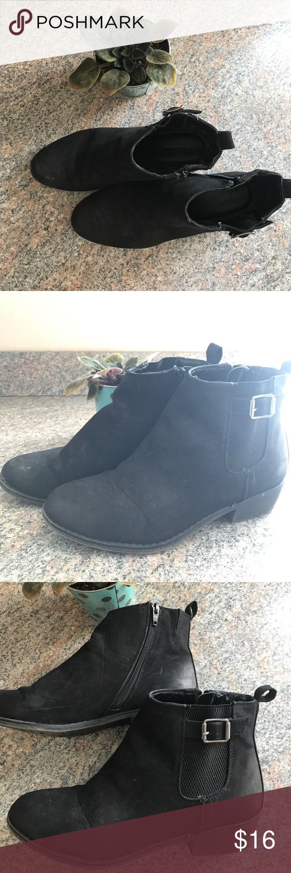 White Mountain Black Booties Short black boots from White Mountain. Very comfortable and easy to slip on and off. Normal wear and tear but still in great shape. white mountain Shoes Ankle Boots & Booties