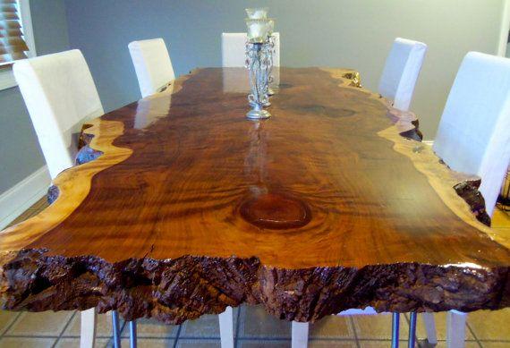 Vivo borde mesa de comedor - mesa de comedor - mesa de comedor de madera losa - secoya borde vivo tabla - borde vivo losa mesa - mesa de comedor de madera (29)
