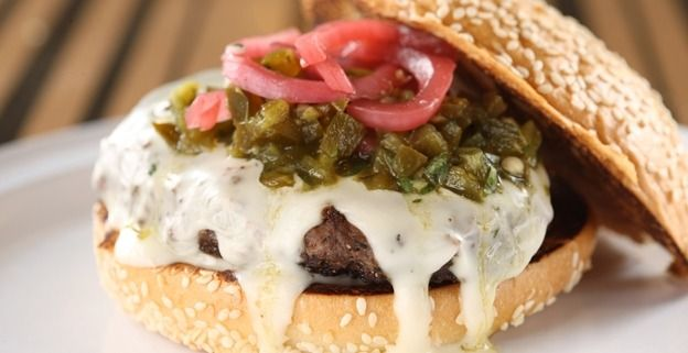 Mesa Grill's Green Chile Cheeseburgers  BOBBY FLAY  MY NOTE:  THE QUESO SAUCE IS AMAZING!!!!  Use it for everything!!!!! - Karen Chapman