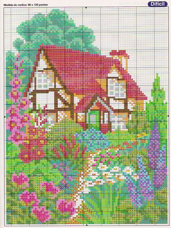 Schema punto croce Casa Campestre 02