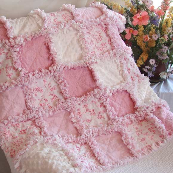 Rag Quilt Patterns | Pink Floral Baby Rag Quilt | Quilts Just 4 Kids