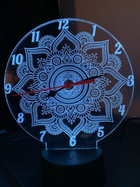 Mandala Real Clock 3d Illusion Led Lamp 7 Colors Changing Led Etsy In 2020 3d Led Lamp Led Lamp 3d Illusions