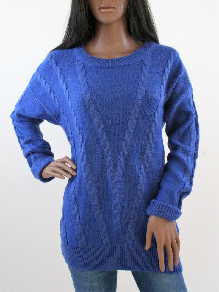 New Womens Ladies jumper Royal Blue knitted winter wear #Unbranded #Jumpers