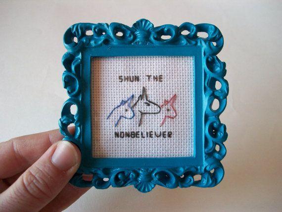 Shun the Nonbeliever - Charlie the Unicorn cross-stitch