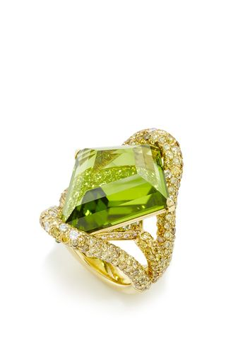 This OOAK Ring features a Valentina Kite Shape Peridot at the center surrounded by pave set Green and White Diamonds in 18K Yellow Gold by PAOLO COSTAGLI 'SS16' for Preorder on Moda Operandi ♥≻★≺♥