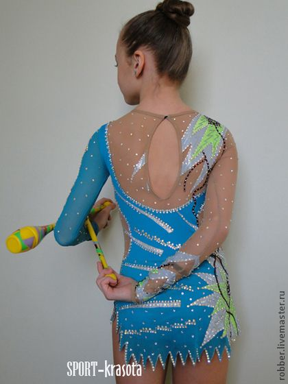 Dance costumes is hand made.  Fair Masters - handmade Swimsuit (suit for presentations) for rhythmic gymnastics.  Handmade.