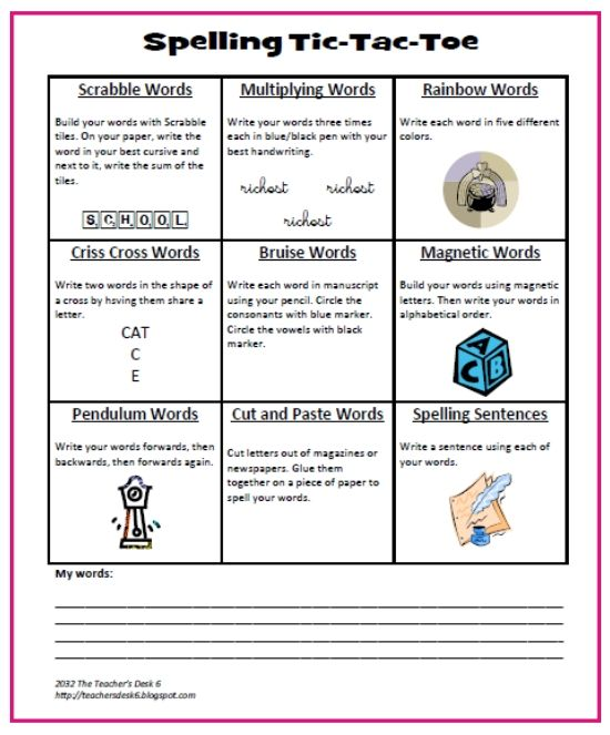 63 best images about spelling tic tac toe on pinterest for Tic tac toe template for teachers