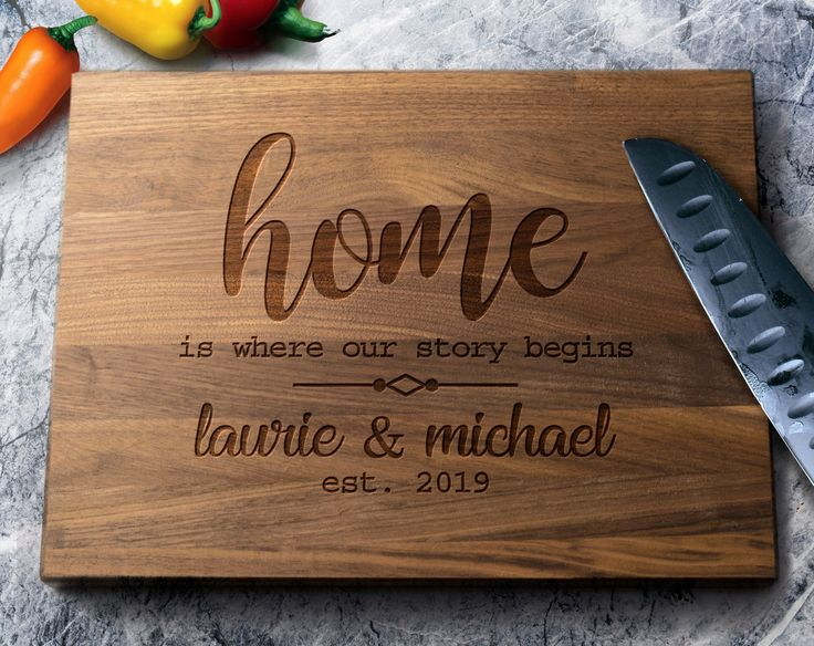 Home Is Where Our Story Begins Custom Cutting Board – Custom New Home Gift – Personalized Housewarming Gift – New Home Gift, First Home Gift