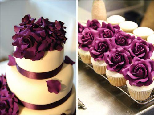 Wedding cake and cupcake love the purple: Cakes Ideas, Cupcake, Color, Wedding Ideas, Purple Rose, Purple Cakes, Weddingcak, Purple Flower, Purple Wedding Cakes