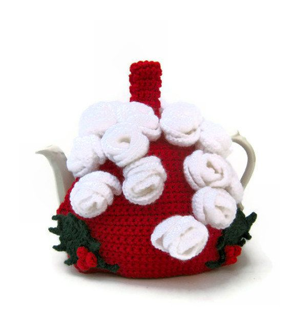 Christmas tea cosy holiday teapot cozy traditional holly berries and Christmas roses in red, green and white