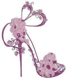 Shoes on a high heel decorated with orchid embroidery design. Machine embroidery design. www.embroideres.com