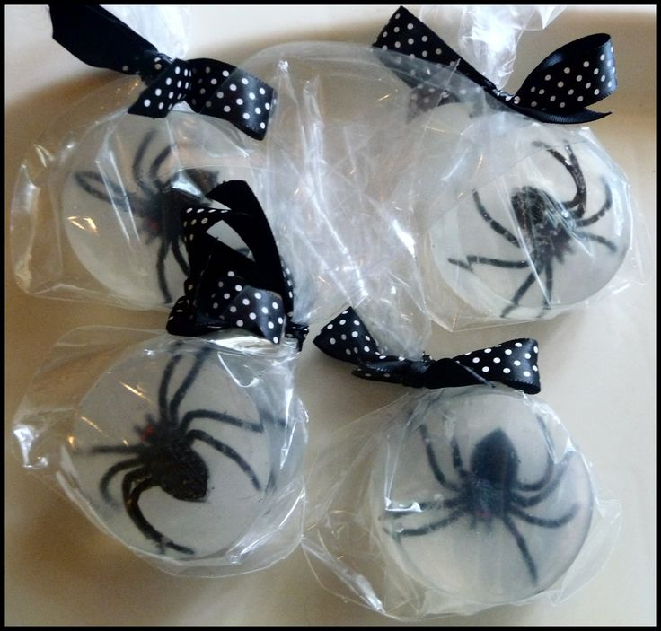 DIY Halloween Spider Soap - I'd rather put something else in the soap than icky spiders but I love this easy tutorial !