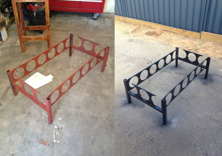 Old coffee table frame, before and after. I had to grind off the old paint, undercoat and respray the frame