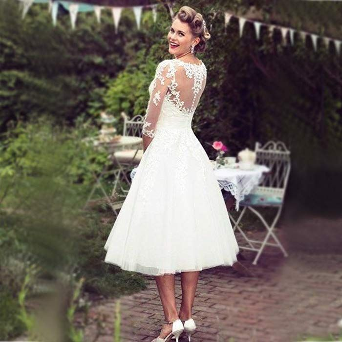 Hochzeitskleider Standesamt Damen Kurz Wei/ß A Linie 3//4 L/änge Transparent Brautkleider mit /ärmel