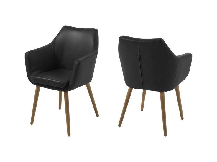 Krzesło Nora czarne ekoskóra nogi drewniane — Krzesła Actona — sfmeble.pl