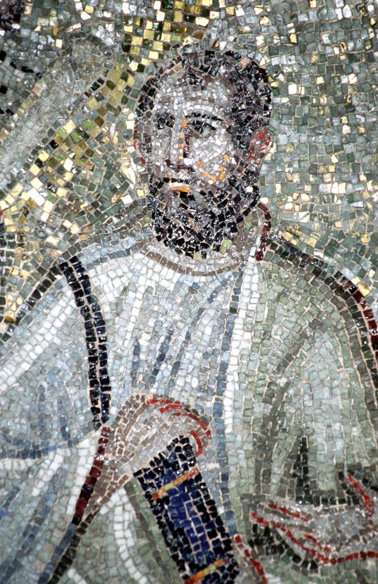 Cappella di Sant'Aquilino, basilica di San Lorenzo, Milano. Cristo con gli apostoli. Traditio legis. SAN PAOLO. Il mosaico della fine del V secolo. Forse del periodo teodoriciano