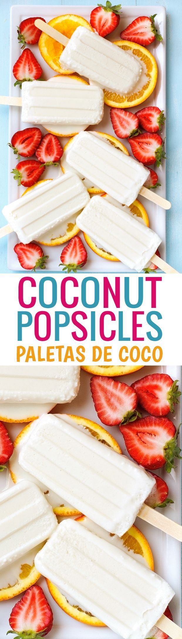 Coconut Popsicles - Made with just 4 INGREDIENTS, these are the best coconut creamsicles ever! #coconutpopsicles #coconutcreampopsicles #paletasdecoco | http://Littlespicejar.com