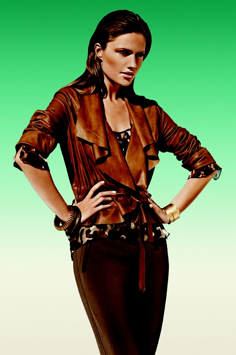 Model in brown leather jacket. Summer 2010.