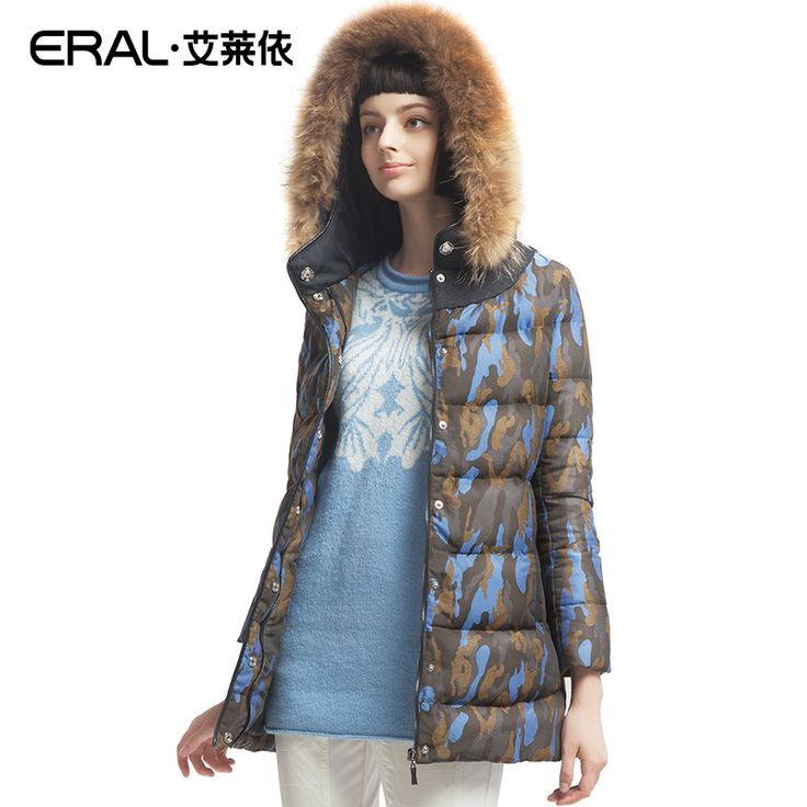 Cheap jacket down, Buy Quality jacket jacket directly from China jacket white Suppliers: ERAL 2016 Winter Women's Hooded Slim Camouflage Raccoon Fur White Duck Down Coat Jacket ERAL6058D