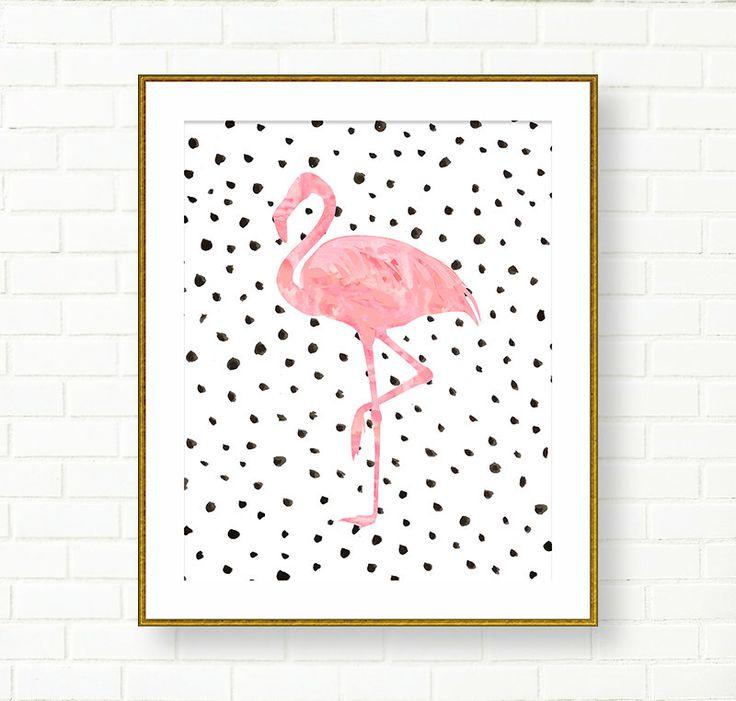 Flamingo Art Print, Pink Black, Dalmatian Print, Vanity Wall Decor, Office, Glam…