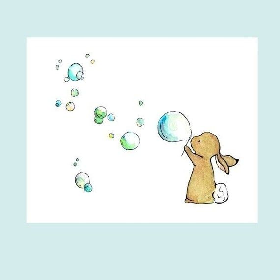 Nursery Art Bunny Bubbles 8x10 Art Print by trafalgarssquare,