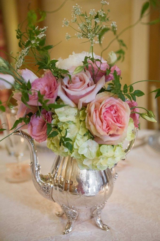 Antique silver teapot centerpiece arrangement flowers