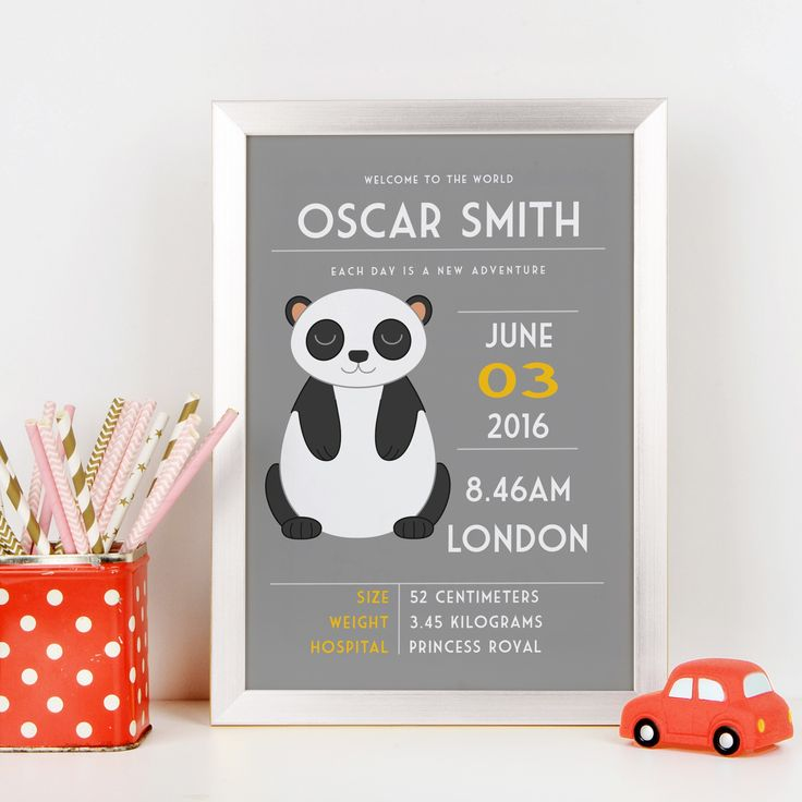 Personalised New Baby Announcement Animal Print