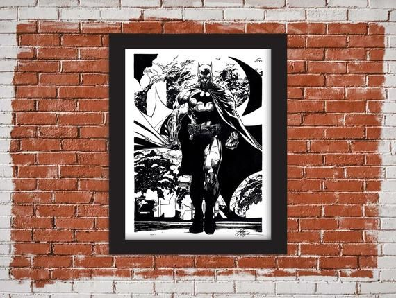 Batman Art Print Batman Comic Book Illustration 8 5x11 Inch