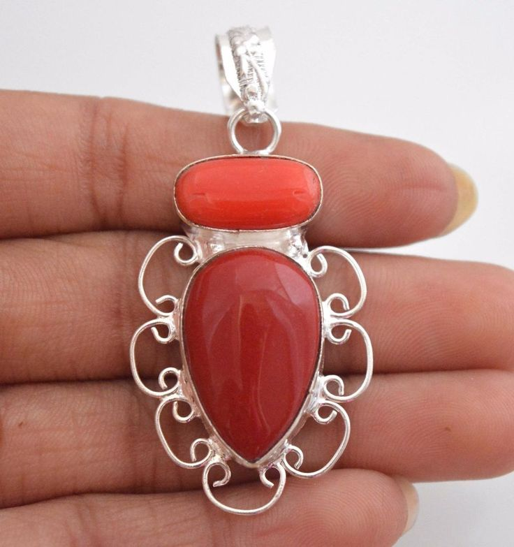 Fascinating Simulated Coral Sterling Silver Plated Wedding Jewelry Pendant C44 #valueforbucks #Pendant