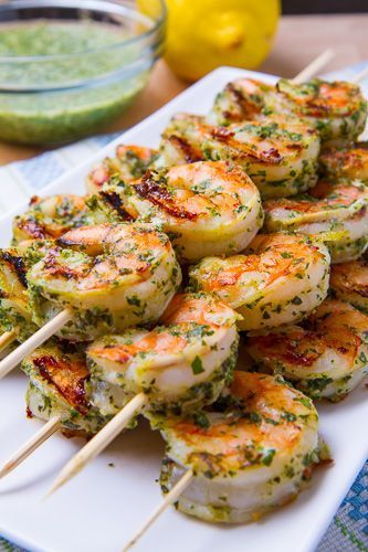 Crevettes à la sauce pesto