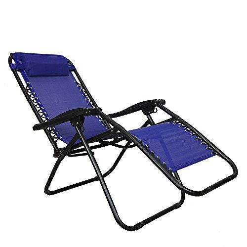 PARTYSAVING Infinity Zero Gravity Outdoor Lounge Patio Pool Folding Reclining Chair APL1062 Navy Blue