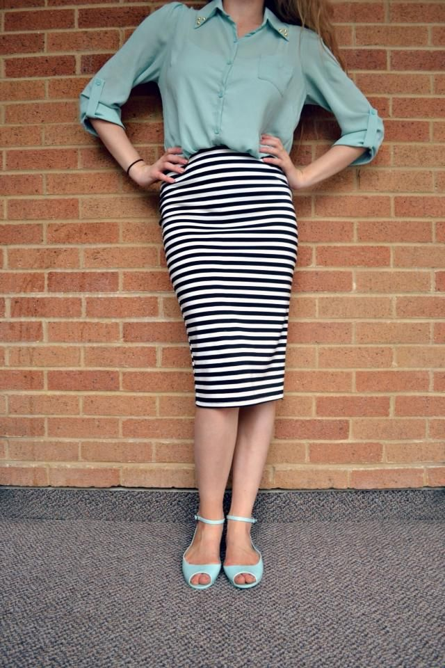 Love this mossy green color blouse with a stripes skirt.