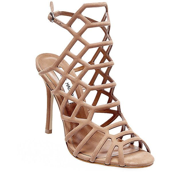 Steve Madden Women's Slithur Stilettos Sandals ($90) ❤ liked on Polyvore featuring shoes, sandals, tan nubuck, cage sandals, caged high heel sandals, high heel sandals, tan sandals and tie sandals