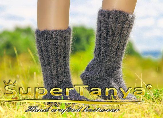 Warm soft fuzzy fluffy gray mohair socks handmade leg warmers by SuperTanya