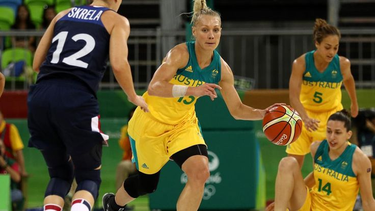 Erin Phillips #13 of Australia dribbles up the court in the Women's Preliminary Round Group A match between Australia and France on Day 4 of the Rio 2016 Olympic Games