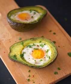 Eggs Baked In Avocado Boats - this guy is honest.  Read not only the recipe, but the blurb about FB too.