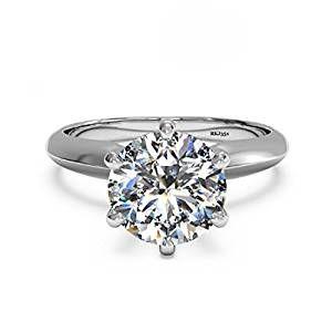 Solitario 2 kt D/VVS taglio brillante rotondo diamante oro bianco 14 K