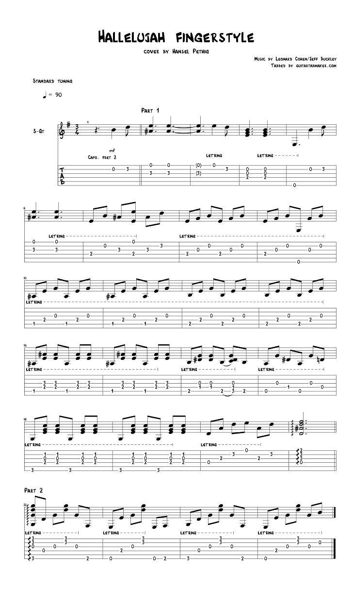 Leonard Cohen Hallelujah Fingerstyle Guitar Tab Pdf Guitar