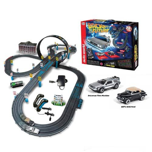 This Back to the Future Electric Slot Car Race Set will take you Back To The Future with speed. Now you can relive all of the speedy parts of time travel as you race around the huge 20-foot track with Marty McFly's DeLorean Time Machine and Biff Tannen's 1946 Ford.  Those are the 2 e