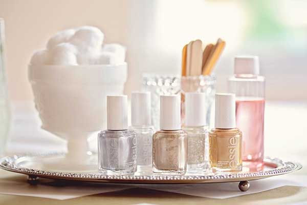 Serve up your favorite metallic essie nail polish shades on a silver platter. Put them on display instead of storing them away!