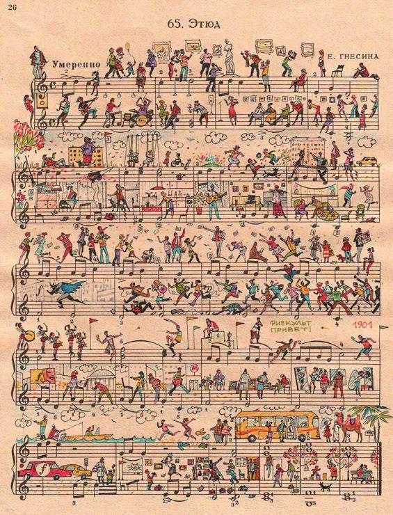 #Illustrated sheet #music full of #life http://www.kafepauza.mk/art-i-dizajn/ilustrirani-partituri-polni-so-zhivot/
