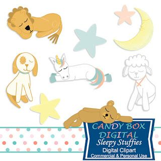 What's in the Candy Box: New Sleepy Stuffies Stuffed Toy Animal Clip Art!