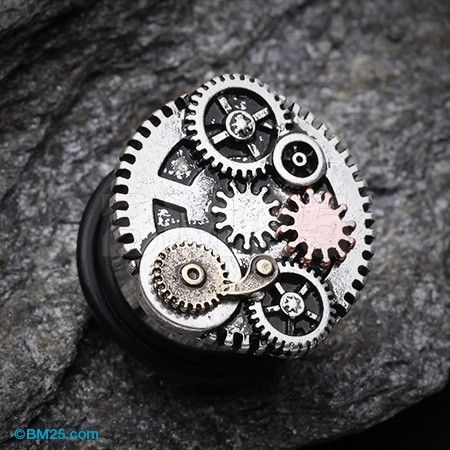 Steampunk Geared Single Flared Ear Gauge Plug