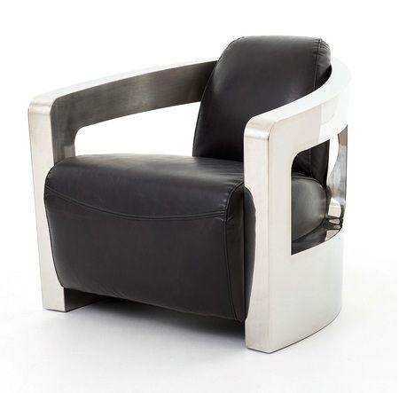 Sinclair Black Leather Mars Metal Club Chair Stuff To