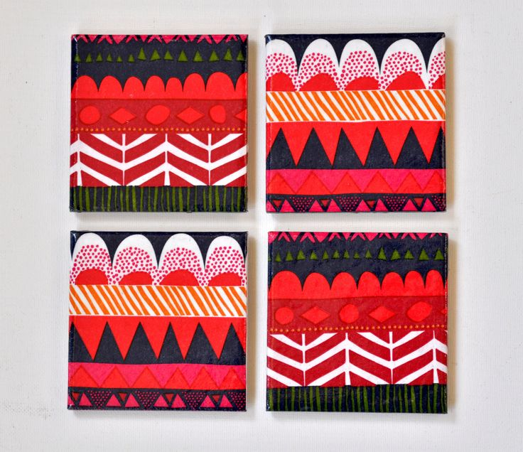 Ceramic Coasters Marimekko Geometric Pattern, set of 4. $23.00, via Etsy.