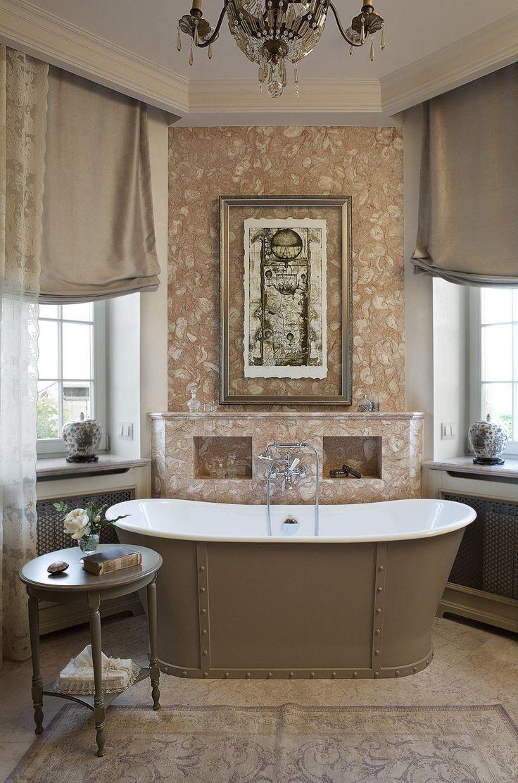 Французские интерьеры: 80 роскошных идей для аристократов и просто ценителей прекрасного http://happymodern.ru/francuzskie-interery/ Украсить ванну можно также мраморной отделкой, люстрой, туалетным столиком с вазой