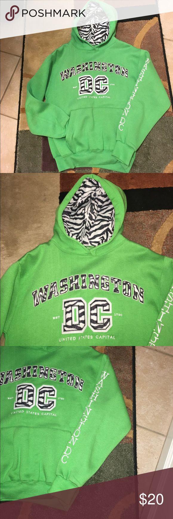 FREE DC CAP/WASHINGTON DC HOODIE WASHINGTON DC LIME GREEN HOODIE WITH KANGAROO POCKETS SIZE SMALL WORN ONE TIME Tops Sweatshirts & Hoodies