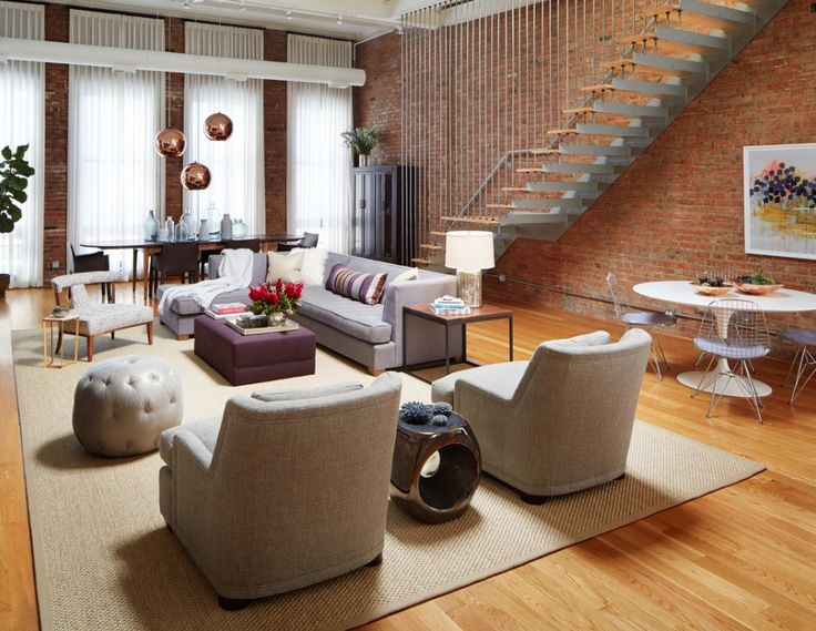 Stylish Living Room Of An Urban Loft In Chicago [Design: Jessica Lagrange  Interiors]