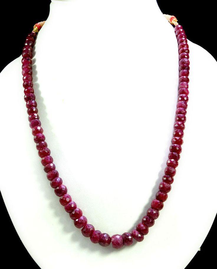 Natural Blood Red Ruby 423ct Big Size Faceted Beaded Gemstone String Necklace #KrishnaGemsNJewels #StrandString